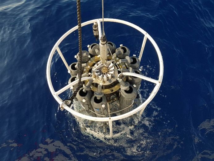 CTD and Rosette lowered for profiling and sampling in the sea