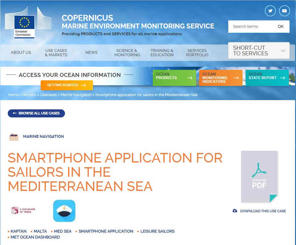 KAPTAN features as a use case on CMEMS website