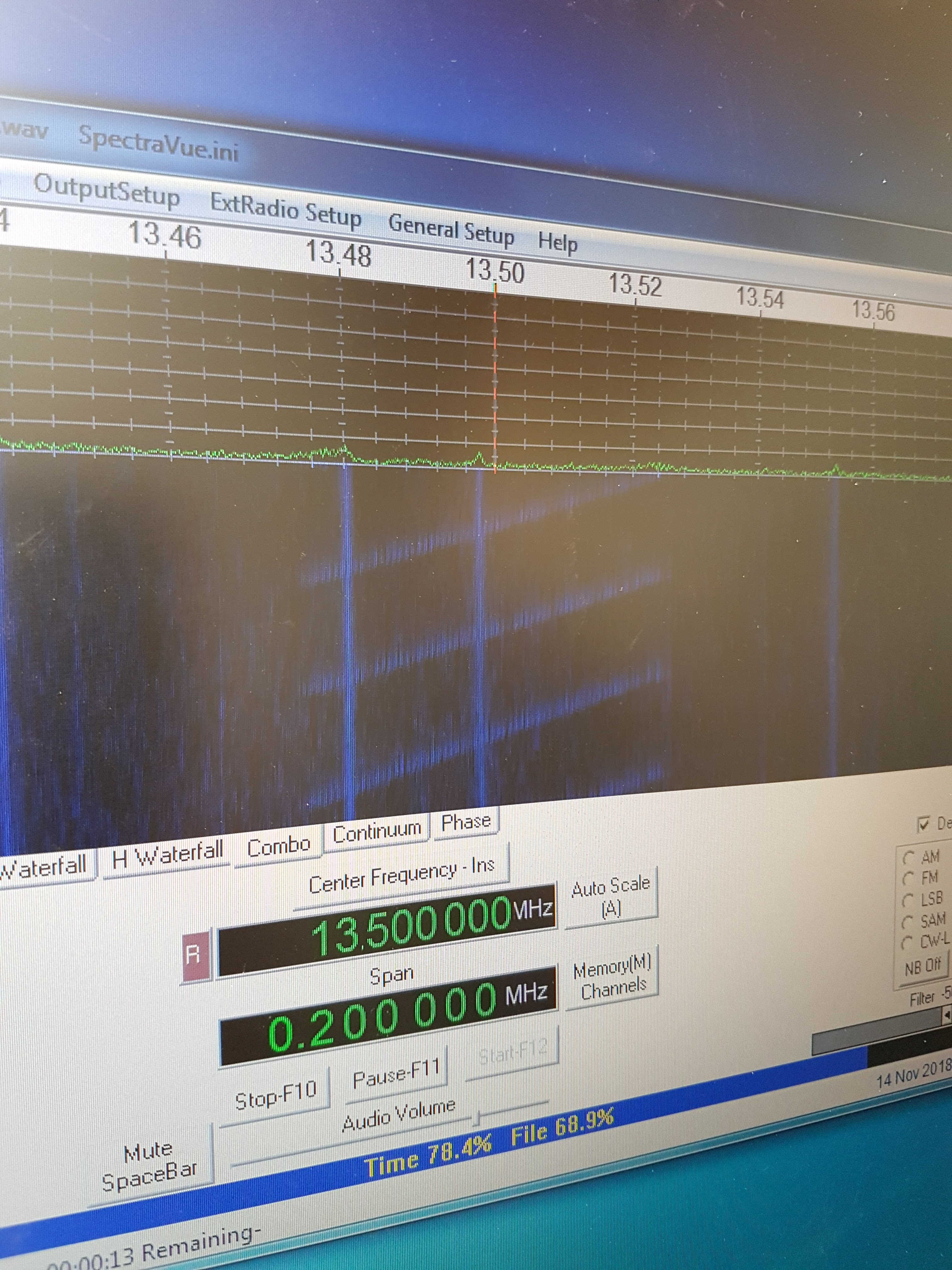 Radio Frequency Interference test in progress