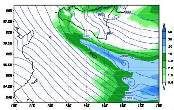Precipitation (in mm over 3h)                   predicted for 1am (local time) on 14 December 2019