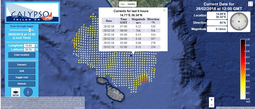 Sea surface current map                   from the CALYPSO HF radar observing system