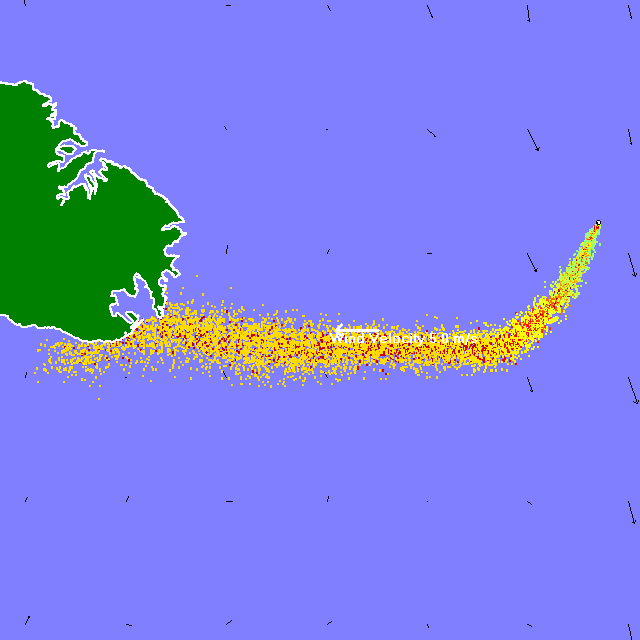 Oil spill scenario east of Malta